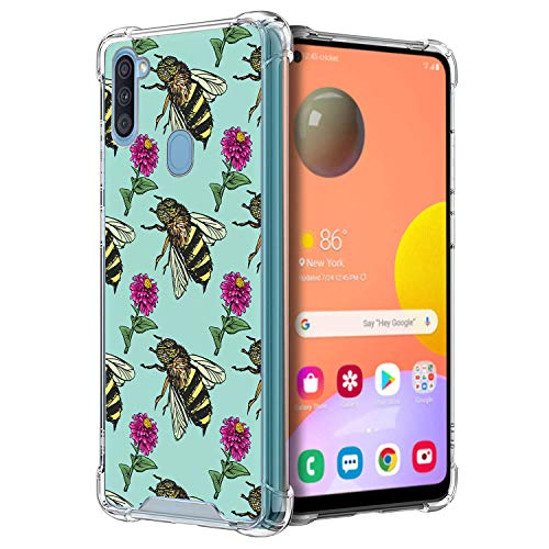 CasesOnDeck Clear Case Compatible with Samsung Galaxy A11 (2020) / A11 Case Slim Minimal Bulk TPU Bumper Case with Design -Bees