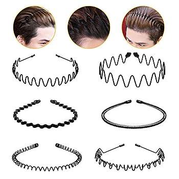 Hair Hoop,6Pcs Unisex Wavy Headband Metal Hair Hoop Multi-style Wave Spring Headband Wavy Comb Hair Band Accessories for Men and Women Black