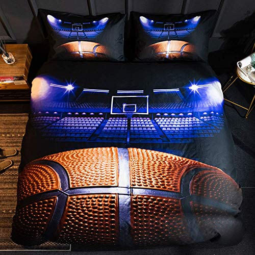 Dmygo Printed duvet covers and pillowcases for football basketball and rugby sports, easy care soft microfiber-bedding, AU-Queen210*210cm (three-piece) basketball court