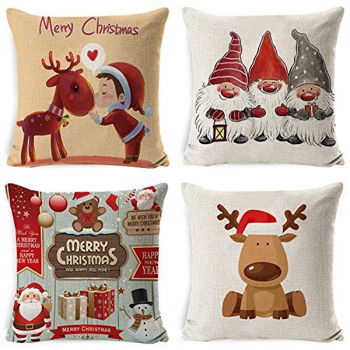 Voqeen, 4 federe per cuscino in cotone e lino, 45,7 x 45,7 cm, decorazione per divano, letto, auto, bomboniera natalizia