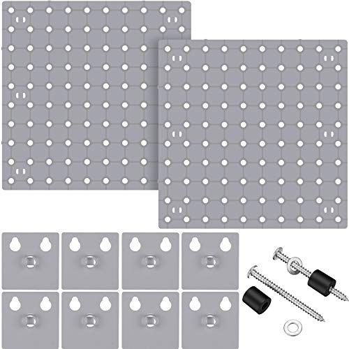 2 Pieces Pegboard Wall Mount Display Pegboard Wall Panel Kits Pegboard Organizer Accessories, 2 Installation Methods, No Damage to The Wall (Gray)