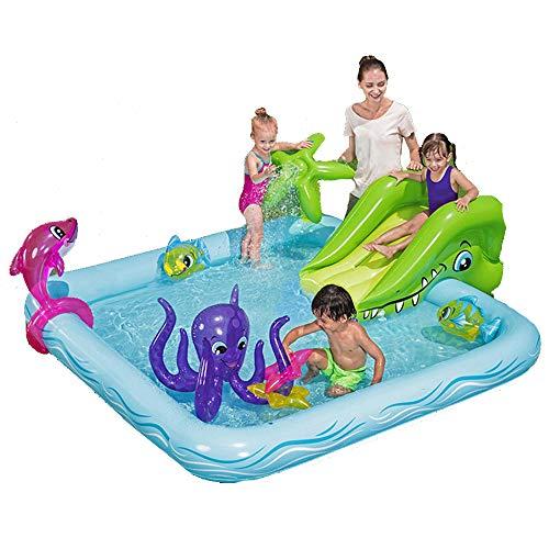 DREAMyun Piscina Infantil para Parque acuático con tobogán Inflable 239 × 206 × 86cm