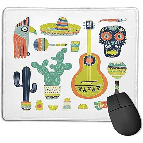 Fiesta,Symbole aus Mexiko Gitarrengesicht Aztekenmaske Tequila Totenkopf Musikinstrumente Taco Dekorativ,Multicolor,für Laptop,Computer,PC,Tastatur,30X25CM