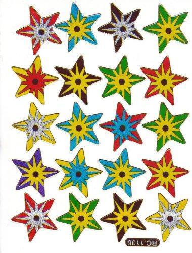 by soljo Star étoile -Colore- Decal Autocollant de décalque 1 Metallic Glitter Dimensions de la Feuille: 13,5 cm x 10 cm