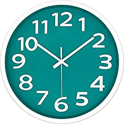 12 Inch Modern Wall Clock Silent Non-Ticking Battery Operated 3D Numbers Bright Color Dial Face Wall Clock for Home/Office Decor,Cyan