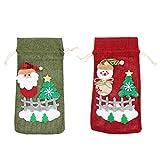 Hemoton 2 Unids Cubierta de La Botella de Vino de Navidad Diy Dibujos Animados Santa Muñeco de Nieve Muñeca Champán Vino Bolsa con Cordón Bolsa de Embalaje de Almacenamiento de Vino para