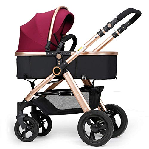 MNBV Cochecito de bebé 2 en 1 Cuna y Asiento de bebé Baby Jogger Buggy de Viaje Plegable a Prueba de Golpes para recién Nacidos de 0 a 3 años, Morado (B)