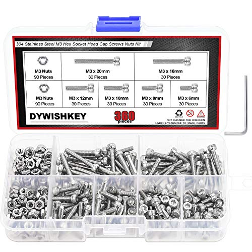 DYWISHKEY 360 Pieces M3 x 6mm /8mm/10mm /12mm/16mm/20mm Stainless Steel 304 Hex Socket Head Cap Bolts Screws and Nuts Kit
