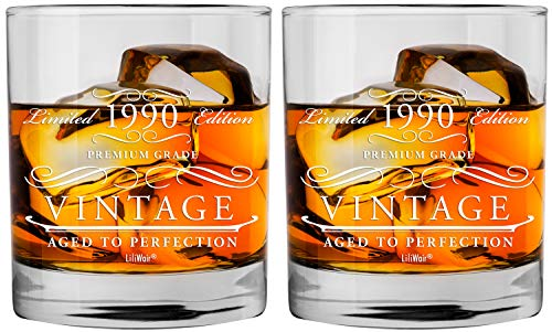 1990 30th 2-Pack Birthday Gifts Men Women | Birthday Gift for Man Woman turning 30 | Funny 30 th Party Supplies Decorations Ideas | Thirty Year Old Bday Whiskey Glass | 30 Years Vintage Dude Presents