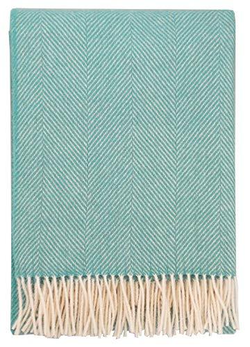Plaids & Co Steinbeck - Manta (100% lana virgen neozelandesa Ökotex 100, 130 x 220 cm), color verde menta
