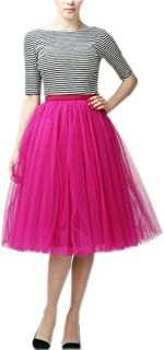 Lisong Women's Tea Length Layered Tulle A-Line Tutu Party Skirt
