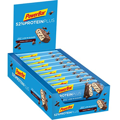 PowerBar Protein Plus 52% Cookies&Cream 20x50g - High Protein Low Sugar Riegel