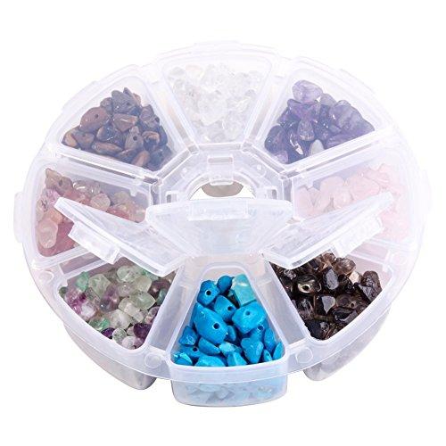 PandaHall Elite One Box (alrededor de 560 piezas) 8 piezas de cristal triturado con forma irregular de cuentas sueltas, paquete económico, 7-12x5-8x3-5mm, agujero: 0,3mm