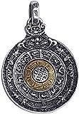 LBBYMX Co.,ltd Collar de Moda Hombres s Mujeres s Plata de Ley 925 Taoísta Chino Yin Yang Bagua Zodiacs Spinner Colgante - Oro