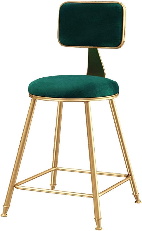 LLYU Nordic Minimalist Modern bar Chair Back Kitchen bar high Stool gold Metal Leg Sponge Cushion (color   Green, Size   45CM)