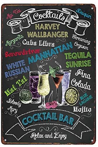 Cocktail-Bar Metall 20 x 30 cm Vintage Look Dekoration Poster Schild für Zuhause Küche Bad Bauernhof Garage Mann Höhle inspirierende Zitate Wanddekoration