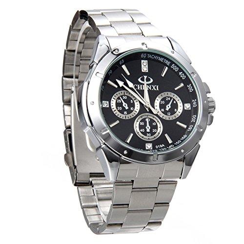 Avaner Herren Uhr analog Japanisches Quarzwerk mit Edelstahl Armband Avaner01P-30 Armbanduhr Silber Ton Business Manschette