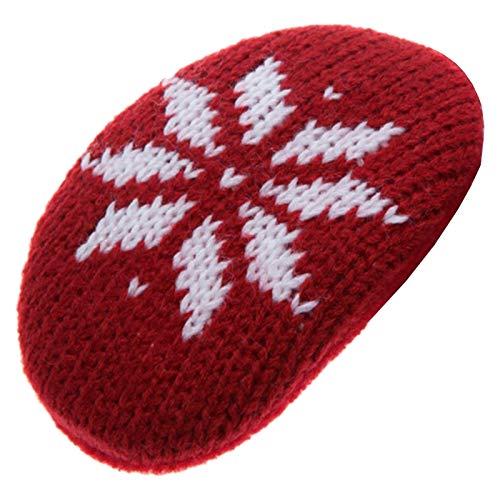 Earbags Cache-oreilles en cuir, personnalisables L Flocon de neige bordeaux.