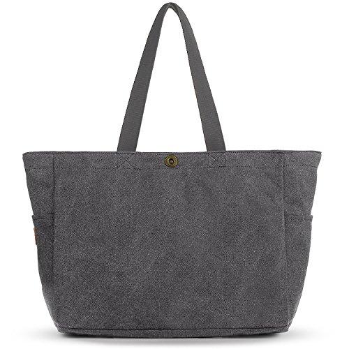 SMRITI Groß Canvas Shopper Tasche Schultertasche für Schule Reisen Arbeit und Einkäufe
