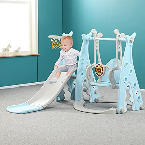 Juego de tobogán y columpio para niños pequeños 4 en 1, juego de tobogán de escalador con aro de baloncesto extra largo, fácil de configurar para interior y exterior patio trasero