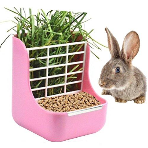 sxbest 2 in 1 Heu Futterspender Manger, Futterschalen Double Use für Gras & Futter, Pink-FBA