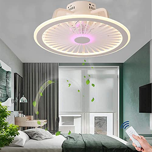 Ventiladores de Techo LED Dormitorio con Luz,Ventiladores de Techo Silenciosos con Lámpara y Mando a Distancia,Lámpara de Techo Ventilador Invisible Moderno Regulable para Cocinas,3500K~6000K,50cm
