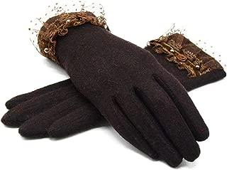 SGJFZD Autumn Winter Ladies Cashmere Gloves Female Fur Wool Mitten Gloves Sweet Elegant All Match Women Thermal Gloves (Color : Brown, Size : OneSize)