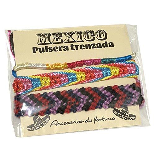 メキシコ製 ミサンガ 3本セット Mexico メキシカン エスニック 編み ブレスレット アソート 男女兼用 プロミスリング アンクレット (カラー�F)