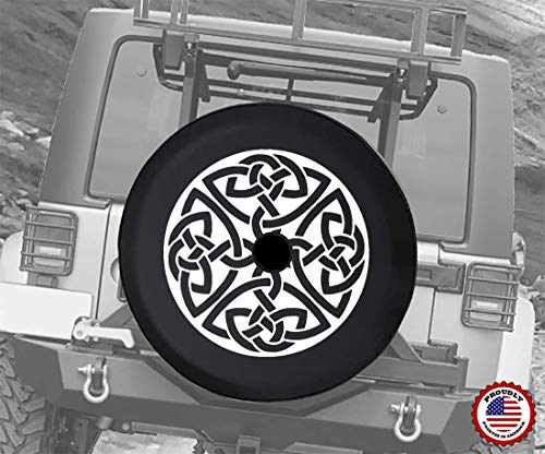 JL Spare Tire Cover Celtic Cross Knot Irish Shield Warrior with Backup Camera Hole 32 Inch