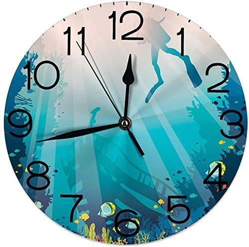 Reloj de pared redondo silencioso de 22,8 cm, funciona con pilas, decoración del hogar, silueta de un barco hundido y arrecife de coral para sala de estar, oficina, dormitorio
