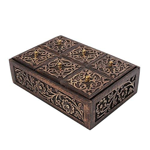Diwali Gift Boxes for women Ideas Diwali Games  Boxes Festive Décor Return Gifts for All Indian festival of lights-storeindya, Multi Purpose Wooden Organizer Box Tea Bags (Mughal Art Collection)