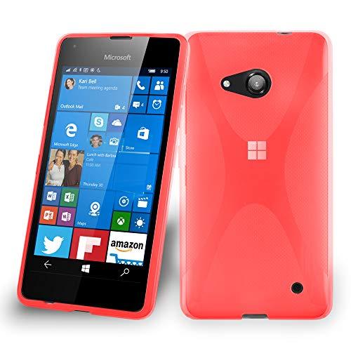 Cadorabo DE-105765 - Cover in Silicone TPU Flessibile per Nokia Lumia 550, Design X-Line, Colore: Rosso