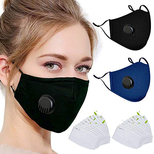 20pcs Activated Carbon Filter 5 Layers Breathing Protective for Reusable Cotton (black+blue)