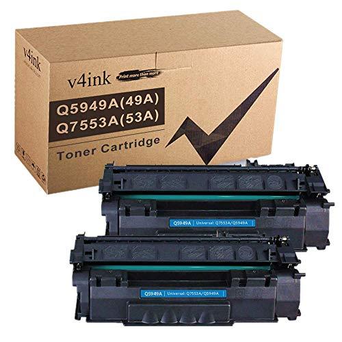 V4INK Compatible 49A 53A Toner Cartridge Replacement for HP Q5949A Q7553A for use with HP Laserjet 1320 1320n P2015dn P2015 P2015n 3390 3392 1160 P2014 M2727nf MFP Printer (Black,2 Packs)
