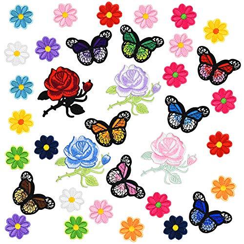 Patch di Abbigliamento,36 Pezzi Rosa La Farfalla Adesivi Decorativi in Tessuto Patch Ricamata Patch Adesivo Tessuto Toppa da Stiro Utilizzato per Vestiti da Cucire fai da te