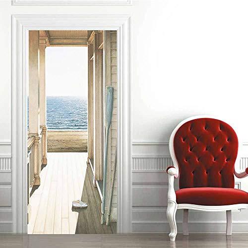 Yuanfenghua 3D pegatinas de puerta autoadhesivas, removibles, impermeables, para puerta de bricolaje, decoración de puerta, mural de pared, pegatinas de pared para decoración del hogar, 77 x 200 cm