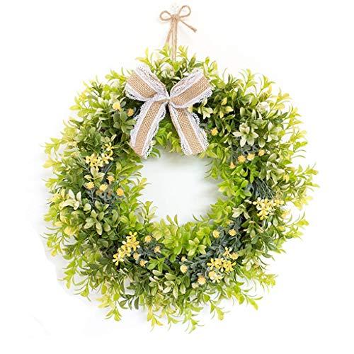 NYKK Decorative wreath Artificial Simulation Wreath Green Wreath Artificial Leaf Wreath Front Door Welcome Christmas Outdoor Indoor-round Wedding wreath
