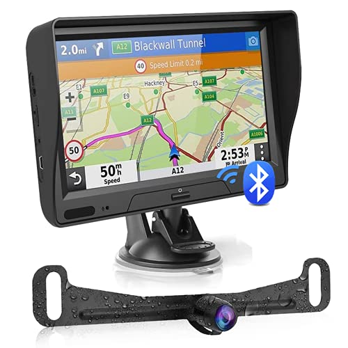 touchscreen with gps GPS Navigation for Car Truck with Bluetooth Backup Camera Latest Map 7 Inch HD Touchscreen Car GPS Navigator 8GB 256M Voice Guidance Lifetime Map Updates, 45ft Camera Cable