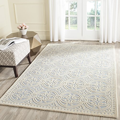 Safavieh Cambridge Collection CAM123A Handcrafted Moroccan Geometric Light Blue and Ivory Premium Wool Area Rug (8' x 10')