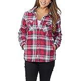 Women's Plaid Fleece Jackets Super Plush Sherpa Lined Jacket Shirt (Medium, Pink)