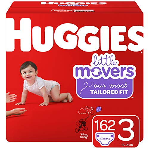 Huggies Little Movers Baby Diapers, Size 3, 162 Ct, One Month Supply, Packaging...