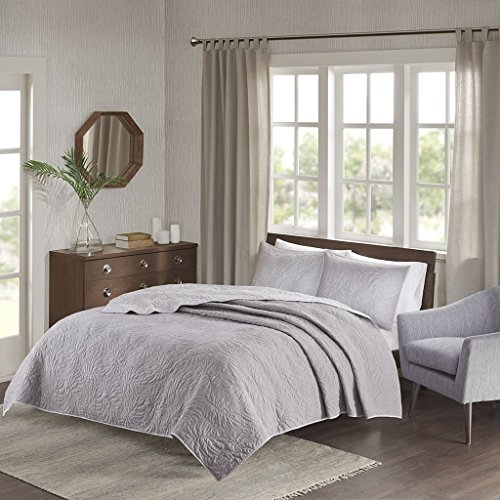 Madison Park Grand Isle 3 Piece Reversible Quilt Set Coverlet Bedding, King/Cal King Size, Grey