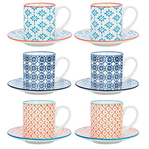 Nicola Spring Gemustertes Espresso Tasse und Untertasse Set - 65 ml - Satz von 6