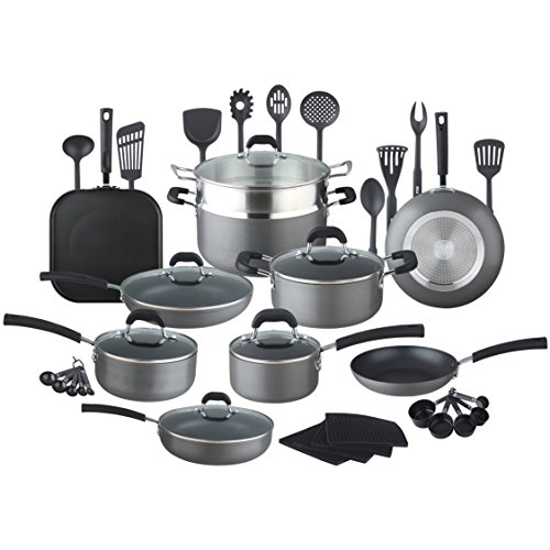 HULLR 40-Pieces All In One Essentials Hard Anodized Pots And Pans Aluminum Nonstick Cookware Set with Eco Induction Evolution Technology, Works On All Cook Tops