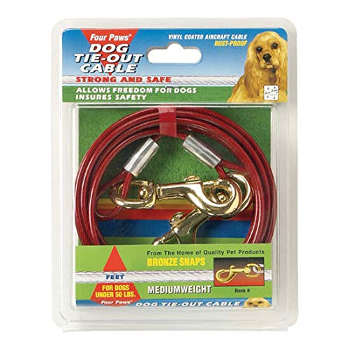 Four Paws Vinyl Coated Rust Proof Medium Weight Tie-Out Cable for...