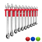 Olsa Tools Magnetic Wrench Organizer | Wrench Holder Fits Wrenches SAE 3/8' Thru 15/16' & Metric 10mm Thru 19mm | Premium Quality Tool Organizer (RED)