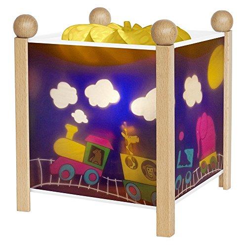 Trousselier - Zug - Nachtlicht - Magische Laterne - Ideales Geburtsgeschenk - Farbe Holz natur - animierte Bilder - beruhigendes Licht - 12V 10W Glühbirne inklusive - EU Stecker