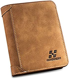 HENGSHENG Brown Leather For Men - Card & ID Cases