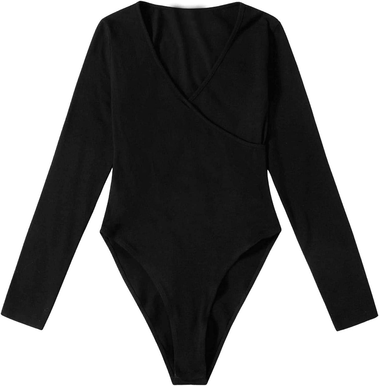 SweatyRocks Women's Casual Long Sleeve Bodysuit Top Wrap V Neck Jumpsuit