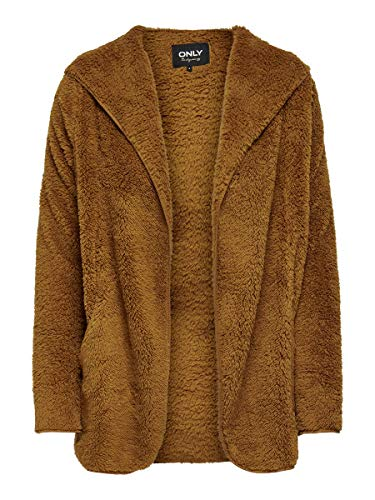 Only ONLNEWCONTACT Hooded Sherpa Coat OTW Chaqueta, marrón, L para Mujer